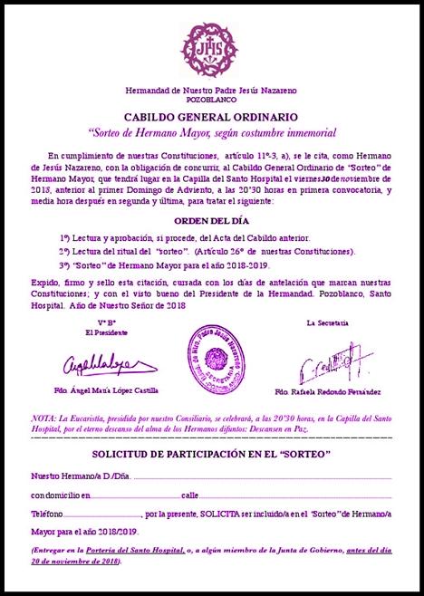 CITACIÓN CABILDO HERMANO MAYOR 2018