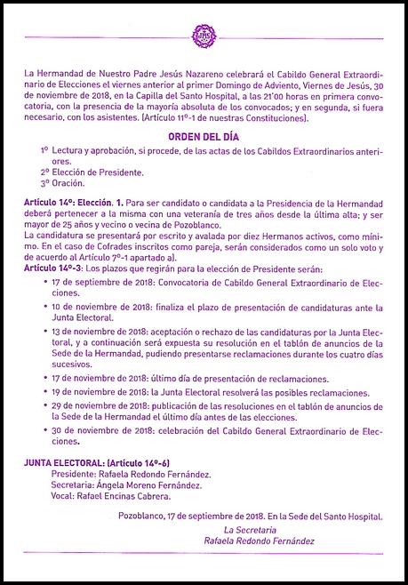 CONVOCATORIA ELECCIONES PRESIDENTE 2018